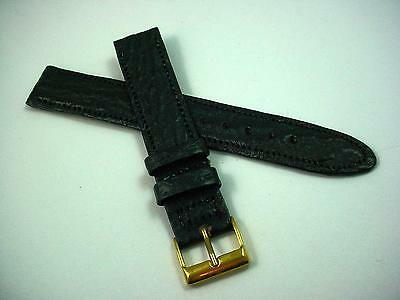 "Mens Black Shark Vintage 16mm 5/8"" Watch Band Gold Tone Buckle New Old Stock"