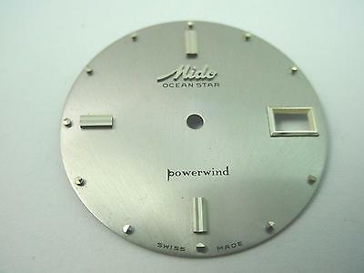 Silver Watch Dial Vintage Mido Ocean Star Powerwind Dot Markrs Date Wndw 31.48mm