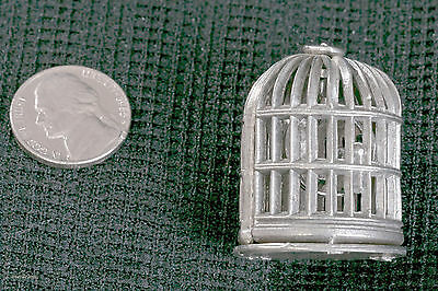 Vintage Pewter Miniature BIRD CAGE in Dollhouse Scale1:12