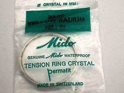 Ref#21 Yellow Radium Tensn Ring 33mm Mido Vintage Watch Crystal Permafit Waterpf