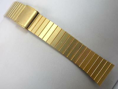 "Gold Tone Stainless Steel Mens Vintage Watch Band Sliding Clasp 16mm 5/8"" NOS"