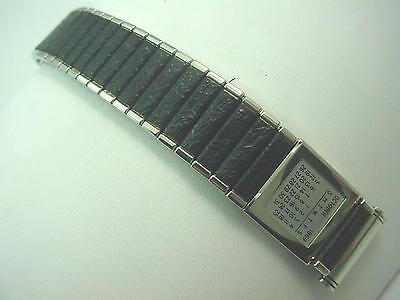 "Stainless Black Vinyl Calendar Watch Band Vintage Mens 19mm 3/4"" Kreisler NOS"