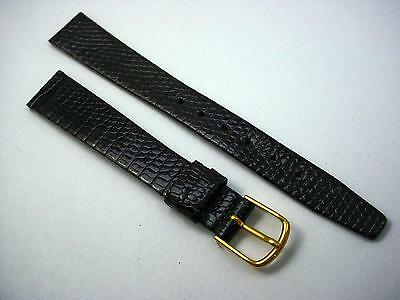 "Brown Gilden Ladies Gold Tone Buckle Genuine Lizard 13mm 1/2"" Vintage Watch Band"