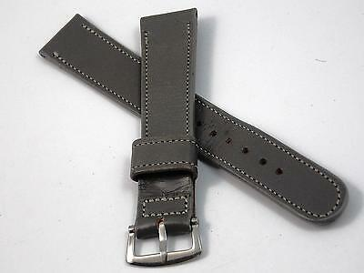"Wyler Wycoflex Grey Leather Mens 17.5mm 11/16"" Vintage Watch Band Silver Tn Bckl"