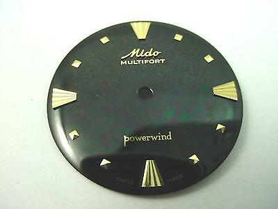 Vintage Watch Dial Black 27.98mm Mido Powerwind Multifort Gold Square Markers