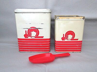 Vtg 40s 50s Red Metal Tin Kitchen Canisters with Matching Plastic Scoop