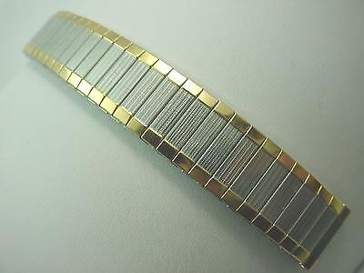 "Mens Vintage Speidel Watch Band Straight Expansion 16mm 5/8"" Two Tone Stainless"
