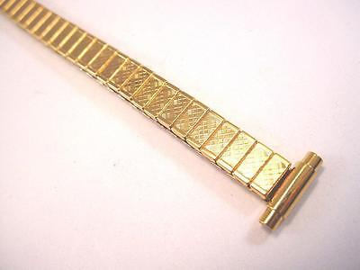 "Kreisler Ladies Vintage Watch Band 10-12mm 3/8"" Goldtone New Old Stock Expansion"