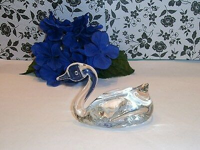 Vintage ✿ Pretty BiRd SWAN Clear Glass PAPERWEIGHT  ✿ Very Cute!
