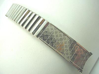 """Gemex Stainless Steel Mens Watch Band Vintage Center Expansion 19mm 3/4"""" NOS"""