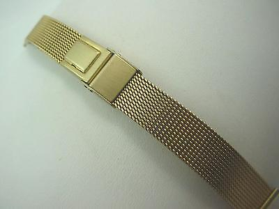 JB Champion Gold Tone Watch Band Ladies Vintage Sliding Clasp 14mm New Old Stock