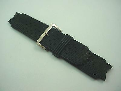 Vintage Mens Watch Band Black Rubber Silver Tone Buckle 18mm Short New Old Stock