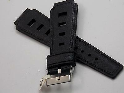 Black Rubber Mens Vintage Watch Band Silver Tone Buckle 18mm New Old Stock