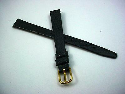 "10mm 3/8"" Gilden Watch Band Ladies Gold Tone Buckle Genuine Lizard Vintage Black"