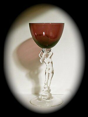 Vintage Cambridge Glass Nude Lady Stem Cocktail Glass in Amethyst/Purple