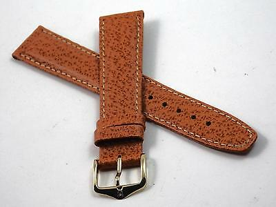 Mens Hirsch Watch Band Vintage Water Resistant Honey Wild Boar 18mm Gold Tn Bckl