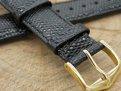 "Black Genuine Lizard 19mm 3/4"" Hirsch Mens Vintage Watch Band Water Resistant"