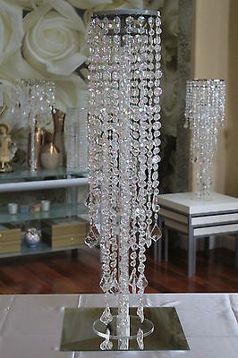 "30"" WEDDING TOP BEADED PLATE CENTERPIECE DECORATIONS IRIDESCENT CRYSTAL TWO TIER"