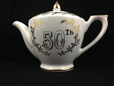 Vintage Lefton China Exclusives 50th Anniversary Tea Pot Hand Painted White/Gold