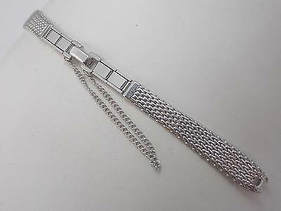 Speidel Ladies Vintage Watch Band Butterfly Clasp C Ring White Gold Filled NOS