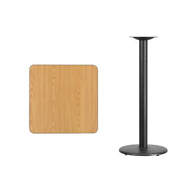 """24"""" Square Natural Laminate Table Top With Base - Bar Height Restaurant Table"""