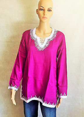 Moroccan Ladies Cotton Tunic Top Shirt Handmade Embroidered Long Sleeves Fuschia