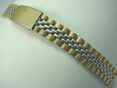 Ladies Seiko Vintage Watch Band Two Tone Deployment Clasp 14mm Grain of Rice