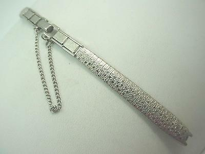 Kestenmade Ladies Vintage Watch Band Rolled White Gold C Ring Butterfly Clasp