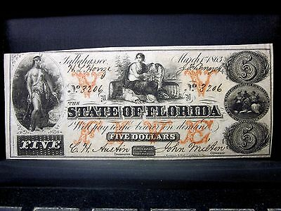 1863 $5 State Of Florida Confederate ✪ Xf Extra F ✪ Fl-21 Tallahassee ◢Trusted◣
