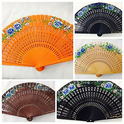 High Quality vintage inspired Spanish Folding Hand Painted Wood Fan For Her (USA