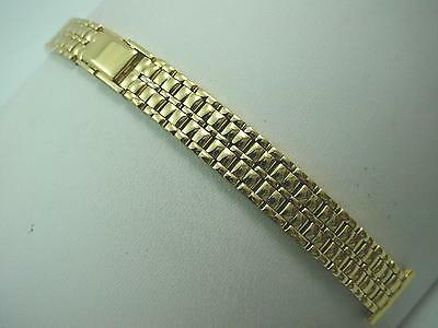 Gold Tone Vintage Watch Band Ladies Gilden Butterfly Clasp 14mm New Old Stock