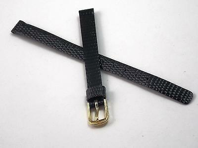 Speidel 8mm Ladies Vintage Watch Band Black Lizard Grain Gold Tone Buckle NOS