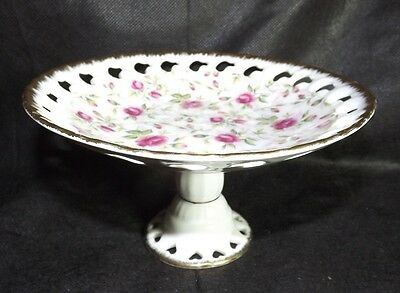 Lefton Candy Dish Footed Compote Rose Chintz Pattern 650R