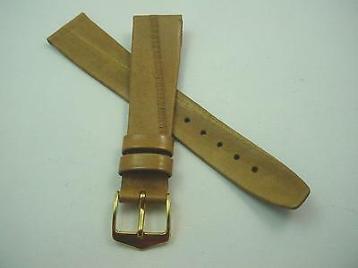 Golden Tan Vintage Mens Watch Band Genuine Eel Gold Tone Buckle 18mm New Old Stk