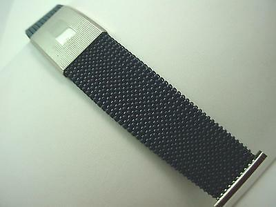 Evinger Mens Vintage Watch Band Expansion Stainless Steel and Navy 23mm NOS