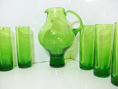 Hand blown pontiled green tall glass pitcher with 6 tall glasses Was $179