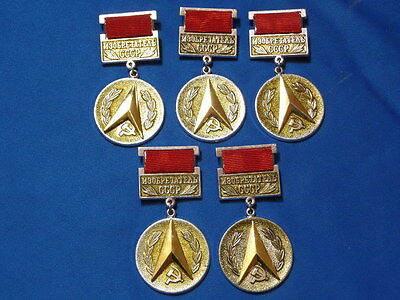 set 5 soviet russian badge Inventor of the USSR