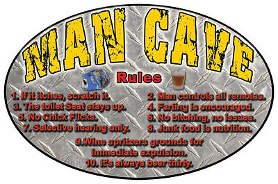 """Funny Ext Large Authentic Tin Sign  """"man Cave...the Rules + Regulations"""" ~ L27"""
