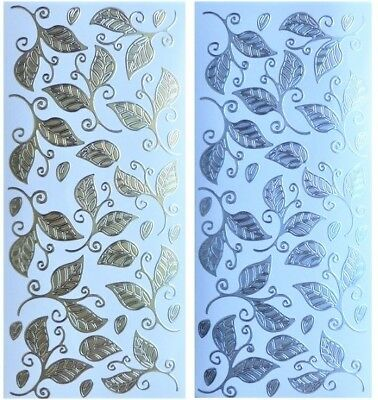 LEAF LEAVES Peel Off Stickers Flourish Card Making Scrapbooking Gold or Silver