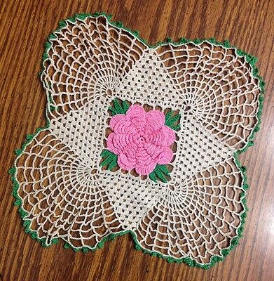 Vintage Off White , green and pink crochet and lace doily the PINK ROSE pops!