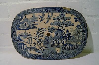 Rare Large Early Pearlware Willow Pattern Meat Drainer.  SC