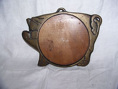 VTG Shabby Country Chic Figural Wood Cast Iron Pig Piggy Trivet Cutting Board