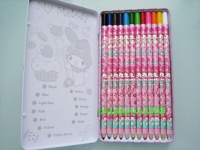 Sanrio 2014 My Melody 12 Colored Pencils Japan Lead With Metal Case ~ NEW P+P