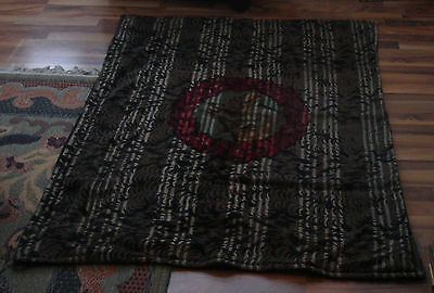ANTIQUE CHASE SLEIGH CARRIAGE BLANKET LAP ROBE HORSE HAIR WOOL DOG WOLF WREATH