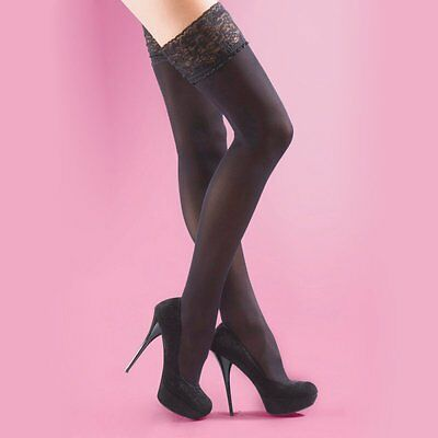 Silky 40 denier soft opaque luxury lace top hold up stockings black size M