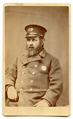Rare 1870s Boston, Massachusetts Police Officer CDV Photo Showing Hat Badge #237