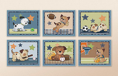Bow wow Puppy Buddies Nursery/Kids/Baby Wall Art/ Bedroom Decor. Sports Dog Art