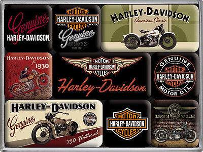 9 pc Magnet Set 'HARLEY DAVIDSON MOTORCYCLE' American Classics Licensed Product