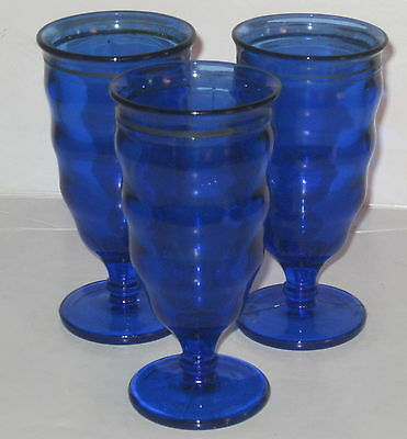"""3 LE Smith MT PLEASANT BLUE w/ SILVER TRIM *6"""" FOOTED TUMBLERS*"""