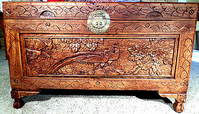 """Vintage Large Hand Carved Chinese Camphor Chest  With Peacock 40""""x24""""x20 1/2"""""""